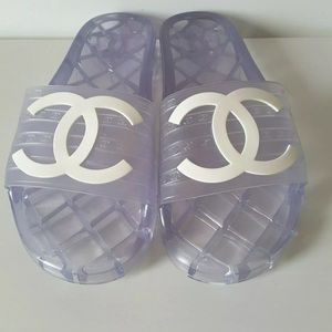 Rare Glossy Clear Chanel Womens Mule